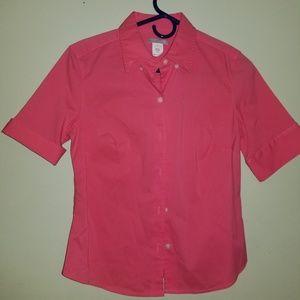 Coral button down blouse
